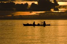 Free Fishermen At Dusk Silhouette Royalty Free Stock Photos - 9663438