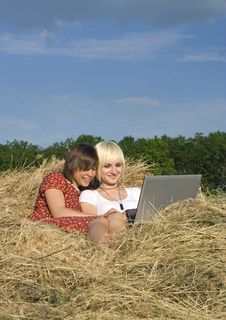Free Two Young Girl In A Stack Of Hay Stock Photo - 9664570