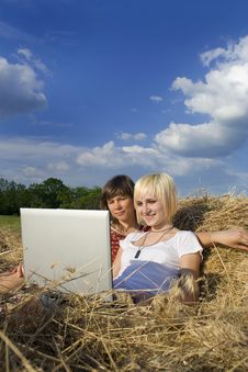 Free Two Teenage Girl  In A Stack Of Hay Stock Images - 9664594
