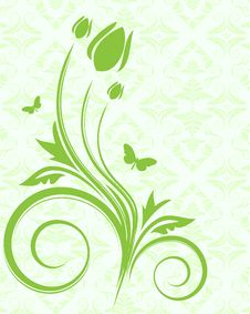 Free Green Floral Background Stock Photos - 9664843