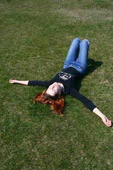 The Girl On The Grass Royalty Free Stock Photos
