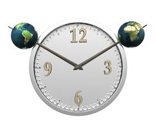 Wall Clock With Two Earth Isolated On White Royalty Free Stock Photography