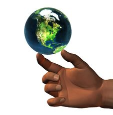 3D Earth On 3D Hand Royalty Free Stock Image