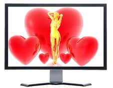 Monitor With 3d Virtual Girl With Red Hearts Royalty Free Stock Image
