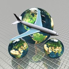 Free Airliner With A Globe Royalty Free Stock Images - 9665119