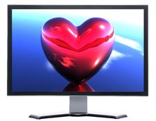 Free Monitor With 3D Hearts Stock Photos - 9665163