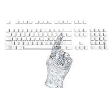 Finger Pushing Key On Keyboard Stock Photography