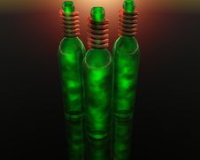 Free 3D Green Wine Bottle Stock Photo - 9665260