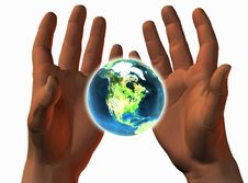 3D Earth On 3D Hands Stock Photo