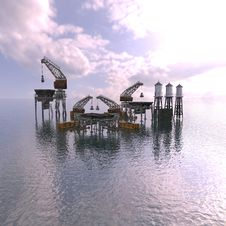 Drilling Platform In Sea With Clouds Stock Photos