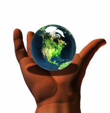 3D Earth On 3D Hand Royalty Free Stock Images