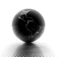 Free Earth Model With Reflection On Dotted Background Royalty Free Stock Image - 9665376
