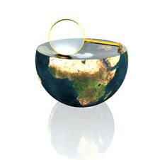 Free Magnifying Glass On Earth Hemisphere Stock Images - 9665384