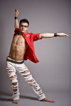 Free Young Fashion Man Model With Athletic Body Posing Royalty Free Stock Photos - 9665578