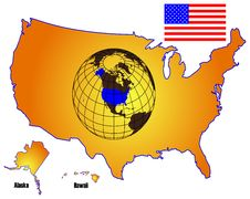 Free American Map And Flag Royalty Free Stock Images - 9668369