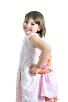 Free Smiling Girl With Doll Stock Photo - 9668860