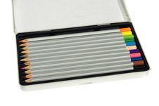 Free Colored Pencils In Silver Metal Box Royalty Free Stock Photography - 9669287