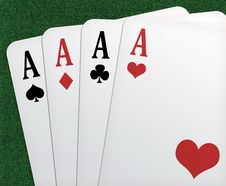 Free Poker Of Aces ! Royalty Free Stock Photos - 9669908