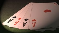 Poker Of Aces View Royalty Free Stock Photo
