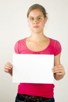Free Young Female Is Holding A Paper To Write On Stock Photography - 9670372