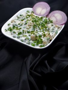 Free Pea Potato Salad On Black Background Stock Photography - 9671152