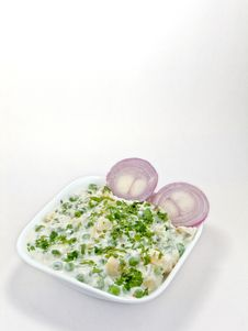 Free Baked Vegetable In A White Bowl And Two Onion Stock Photo - 9671210
