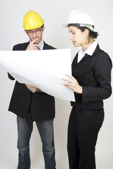 Free Engineer And Client On Site Royalty Free Stock Photo - 9671385
