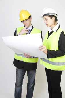 Free Engineer And Client On Site Royalty Free Stock Images - 9671459