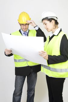 Free Engineer And Client On Site Royalty Free Stock Photography - 9671487