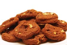 Free Dutch Chocolate Chip Cookies With Walnuts Royalty Free Stock Image - 9672536