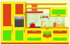 Free Kitchen Furniture. Interiors. Royalty Free Stock Photos - 9672928
