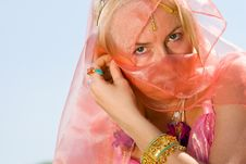 Free A Woman Cover Her Face With A Dress Close-up Royalty Free Stock Photo - 9672955