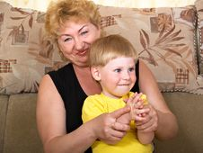 Portrait Of The Grandmother With The Grandson Royalty Free Stock Images