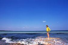Free White Child Admiring Black Sea Stock Photo - 9675970