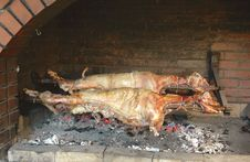 Free Two Lamb On A Spit Royalty Free Stock Photos - 9677558