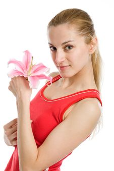 Free Nice Girl  With A Pink Lily Stock Photos - 9678093