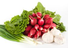 Free Spring Onions, Garlic, Lettuce And Radish Royalty Free Stock Images - 9678409