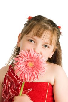 Free Portrait Of Nice Girl With Flower Royalty Free Stock Photos - 9678668