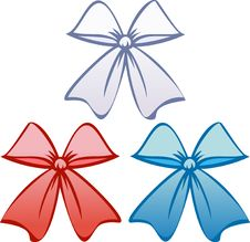 Free Bows In Patriotic Colors (Vector) Royalty Free Stock Photo - 9679685
