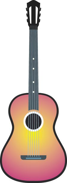 Free Acoustic Guitar (Vector) Royalty Free Stock Image - 9679786