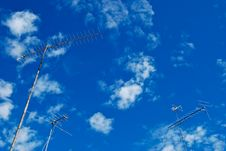 Free Three Antenna Are Standing Over Sky Royalty Free Stock Image - 96793416