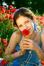 Free Portrait Teen Girl With Poppy Royalty Free Stock Photo - 9680905