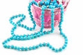Free Colored Pearl Beads In Pink Wicker Basket Isolated Stock Images - 9682994
