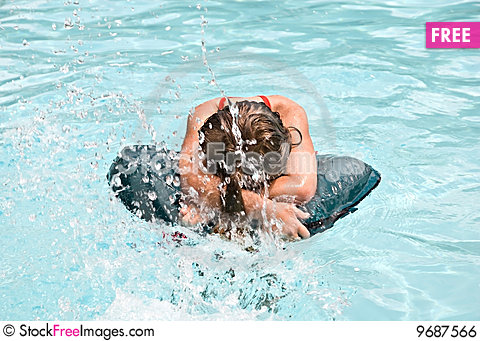 Free Girl In A Pool Being Splashed Royalty Free Stock Image - 9687566