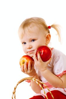 Free Child With Apples Royalty Free Stock Photo - 9680105