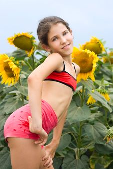 Free Beauty Teen Girl And Sunflowers Stock Images - 9680534