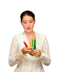 Portrait Woman With Color Pencils Royalty Free Stock Images