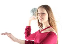 Free Young Woman With Glass Sphere Royalty Free Stock Photography - 9680577