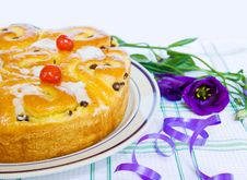 Baked Cake With Purple Iris Flower And Ribbons Royalty Free Stock Photography