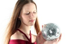 Free Young Woman With Glass Sphere Stock Image - 9680591